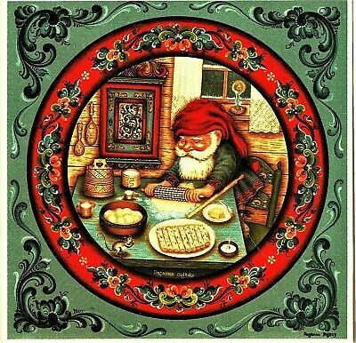 "Norwegian Trivet Tile  ""Nisse Eating Lutefisk""  by S Toftey  6"" x 6""  Cork Back"