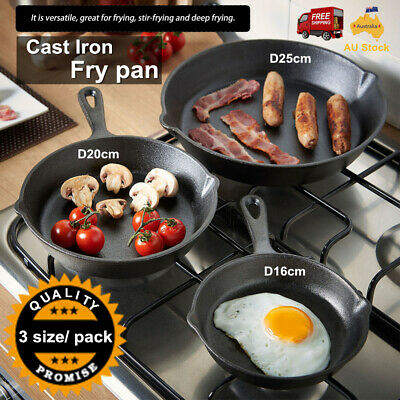 3pcs CAST IRON FRYING PAN Skillet 16/20/25cm Heavy duty+ handle healthy cooking