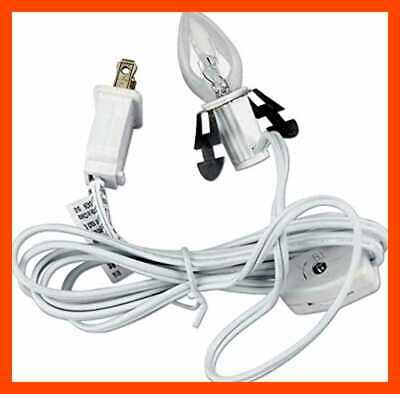 Single Light Replacement Clip In Lamp Cord For Christmas Village House WHITE