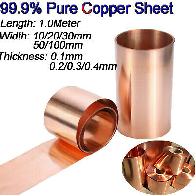 99.9% Pure Copper Cu Metal Sheet Foil Plate Strip 1000mm X 0.1/0.2/0.3/0.4 thick