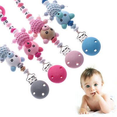 DIY Non-toxic Infant Chew Cute Pacifier Chain Soother Baby Teething Dummy Clips
