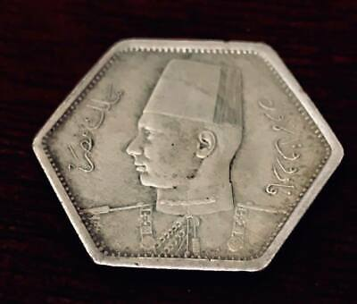 Egyptian silver coin of King Farouk 1944 2 piasters