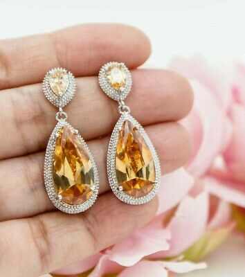 8.89 Ct Pear Very Large Citrine 2 Stone Drop  Earrings Over 14k White Gold FN