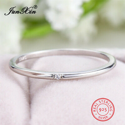 Minimalist Solid 925 Sterling Silver CZThin Stackable Ring Women Wedding Jewelry