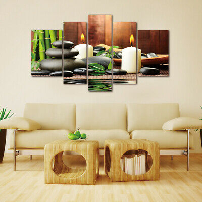 5 Panels Wall Art Picture Canvas Paintings Plant Green White Candle Home Decor