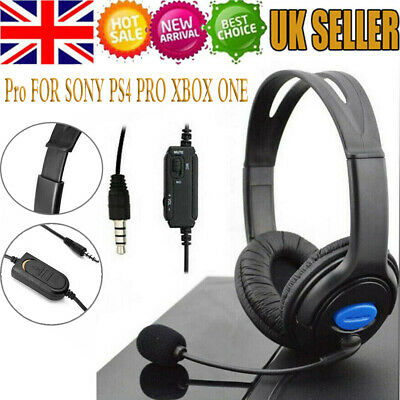 BLACK DELUXE HEADSET HEADPHONE WITH MICROPHONE FOR SONY PS4 PRO XBOX ONE UK Ship