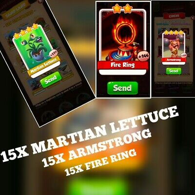 15;x Martian Lettuce , 15 x Fire Ring & 15 x Armstrong  :- Coin Master Cards