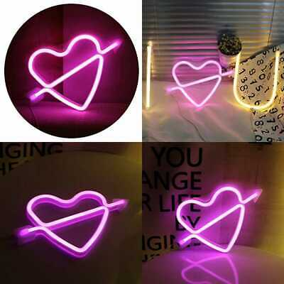Neon Art Decorative Lights The Arrow Of Love LED Cupid Heart Signs Li PINK Home