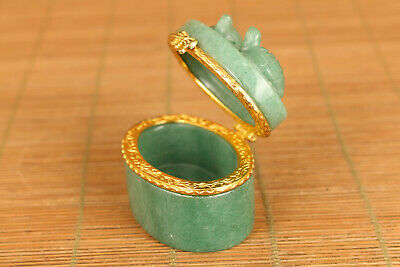 vintage Old jade Hand Carving tortoise jewel ring box noble gift