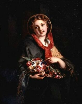 LMOP1070 A girl holding a bouquet of flowers hand oil painting art on canvas