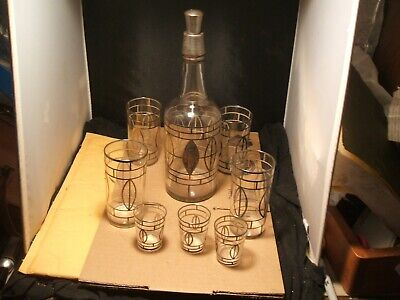 1910 Edwardian Sterling Silver Overlay Liquor bottle & glasses