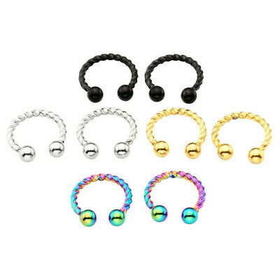 Stainless Steel Fake Helix Nose Ring Septum Twisted Hoop Clicker Non Piercing