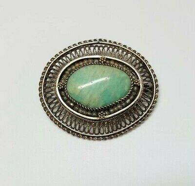 Vintage Chinese Silver Filigree Turquoise Brooch Pendant