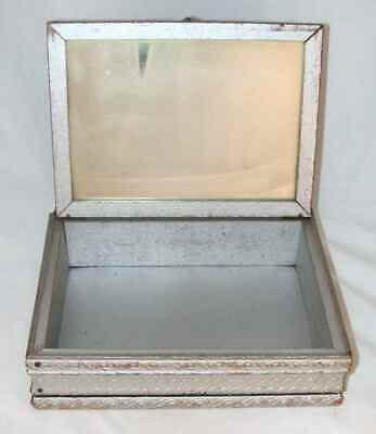 Antique Wood and Glass Jewelry Box W/ Mirror Glass Framed Print of Windmill Lid