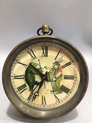 Chinese Old copper painting Black bear mechanical table Clocks