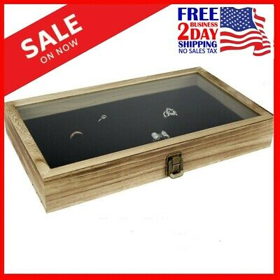 Large Wood,Watch Box Glass Top Jewelry Ring Display Wooden Organizer Case Oak