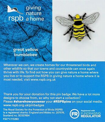 RSPB Pin Badge | great yellow bumblebee GNAH BLUE (01459)