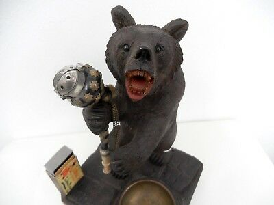 Antique Swiss Brienz Black Forest Hand Carved Bear hige 10,5 inch