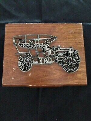 Vintage Wooden  Playing Card Holder Box 2 Decks, Antique Metal Car On Lid, 1986