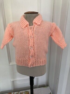 Lovely Newly Hand Knitted Baby Girl's Cardigan - Age 3-6 Months - Peach