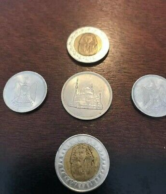 Egyptian coins including 2 King Tut 1 pounds a 20 piaster of  1984 and 2 10 Mill