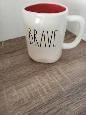 New RAE DUNN Blue LL BRAVE 4th Of July Mug Red Inside By Magenta