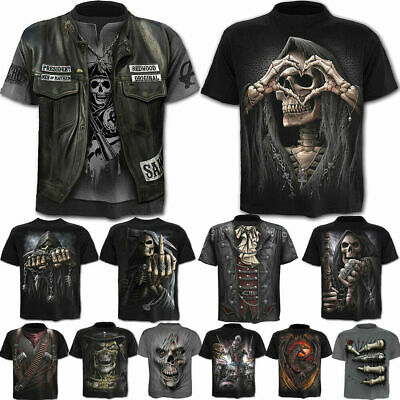 Men's 3D Military Tool Skull Printed T-shirts Short Sleeve Tees Tops Lots SALE