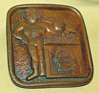 Pabst Belt Buckle Blue Ribbon Beer Cool Blue Indiana Metal Craft 1976 Bb7 Brass.