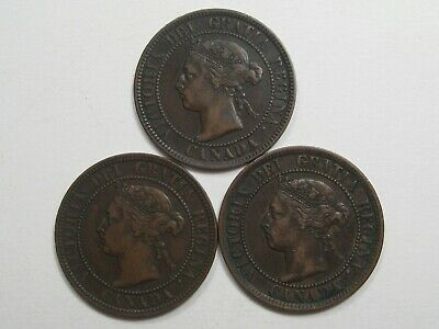 3 VF Victoria - Canada Large Cents. 1893, 1896, 1897.  #33