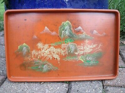 Oriental Chinese or Japanese Lacquer Tray decorated with Pagoda & Trees.