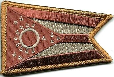 """2 1/8"""" x 3 1/8"""" Brown Faded Ohio State Flag Patch VELCRO® BRAND Hook Side Only"""