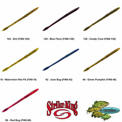 Strike King KVD Perfect Plastic Finesse Trick Worm 6.5 Inch Any 13 Colors FIN65