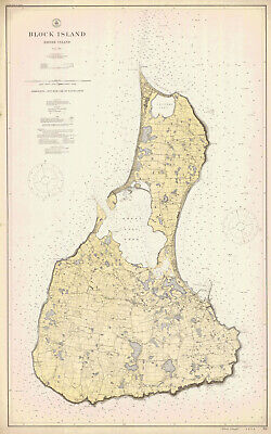 1914 Nautical Map of Block Island Rhode Island