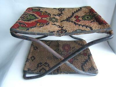 Antique Cast Iron & Carpet Folding Foot Stool W/ Maker's Tag