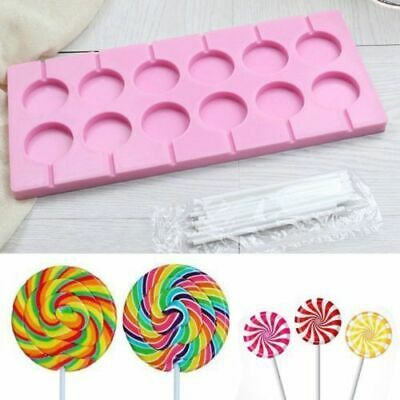 Round Silicone Lollipop Baking Hard Candy Mold DIY Mould With Sticks 12 Capacity