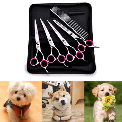 "6"" Cat Dog Pet Hair Grooming Cutting Thinning Scissors Set Curved Shears Comb"
