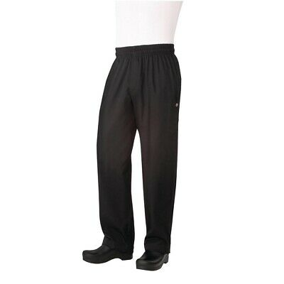 Chef Works Unisex Basic Baggy Zip Fly Chefs Trousers Black XL - B698-XL