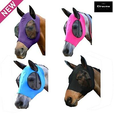 Horse Lycra Fly Mask With Ears Stretches  Face Mesh Face and Ears Anti-UV