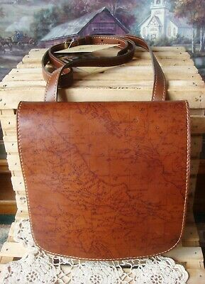 Nwt~ Patricia Nash Granada Crossbody ~Flap Map Print & Rust-Brown Leather ~$129