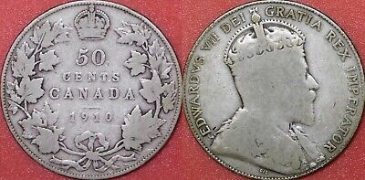 Good 1910 Canada  Silver 50 Cents