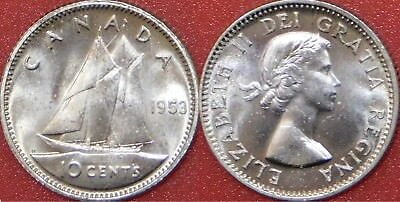 Brilliant Uncirculated 1953 Canada No Shoulder Fold Silver 10 Cents