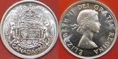 Brilliant Uncirculated 1956 Canada Silver 50 Cents From Mint's Roll