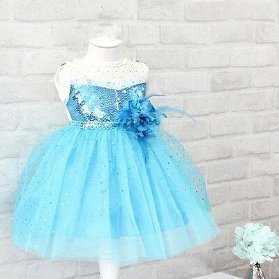 Blue Flower Girl Dress Frozen Elsa Princess Kids Party Dresses Summer Sundress