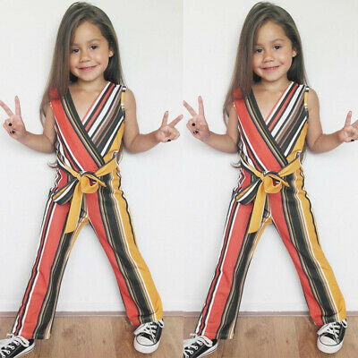 UK Seller Baby Girls Kid Striped Jumpsuit Playsuit Toddler Romper Outfit Clothes