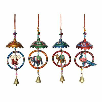 Umbrella with Ring Surrounding Ganesha,Elephant, Camel, Peacock Door Hanging 4pc