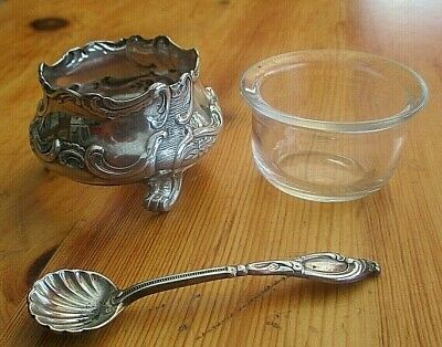 Stunning Antique Art Nouveau Silver Plate Salt + Liner  & Silver 800 Spoon