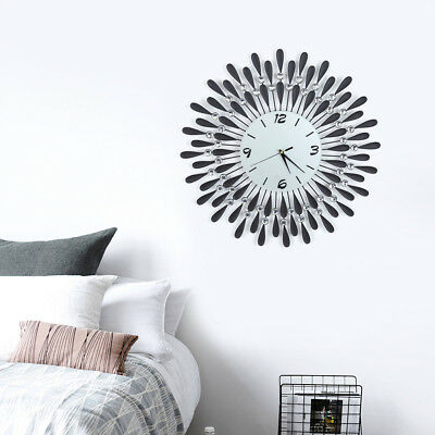Stylish Clear Diamante Beaded Jeweled Sunburst Round Metal Wall Clock Time 60CM