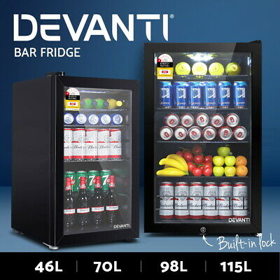 Devanti Glass Bar Fridge Door Mini Counter Top Freezer Fridges Bottle Cooler