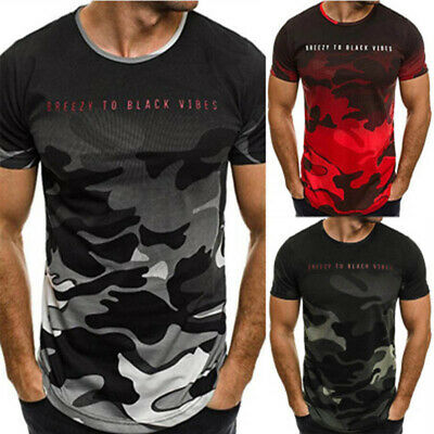 Mens Camouflage Short Sleeve T-Shirt Gym Sport Quick Dry Compression Tee Tops UK