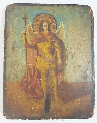 Antique 19th C Russian Hand Painted Wooden Icon of the Michael the Archangel